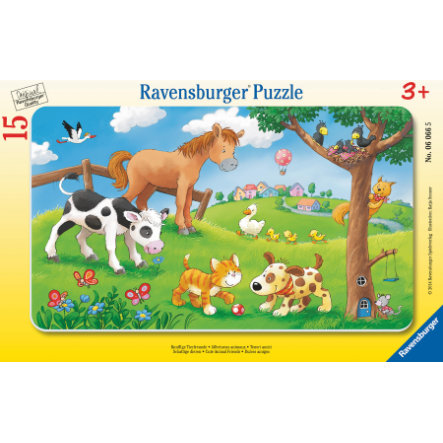 Ravensburger frame puzzle - coccolone amanti degli animali, 15 pezzi