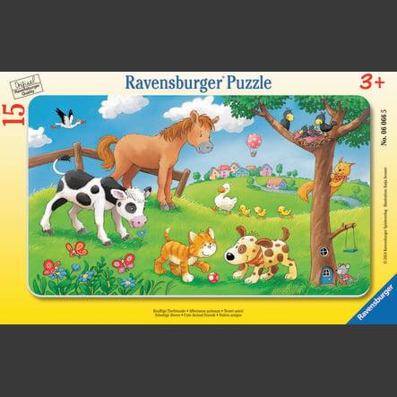 RAVENSBURGER Rahmenpuzzle - Knuffige Tierfreunde, 15 Teile