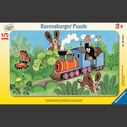 Ravensburger Puzzle à cadre - La taupe en tant que conducteur de locomotive, 15 pièces