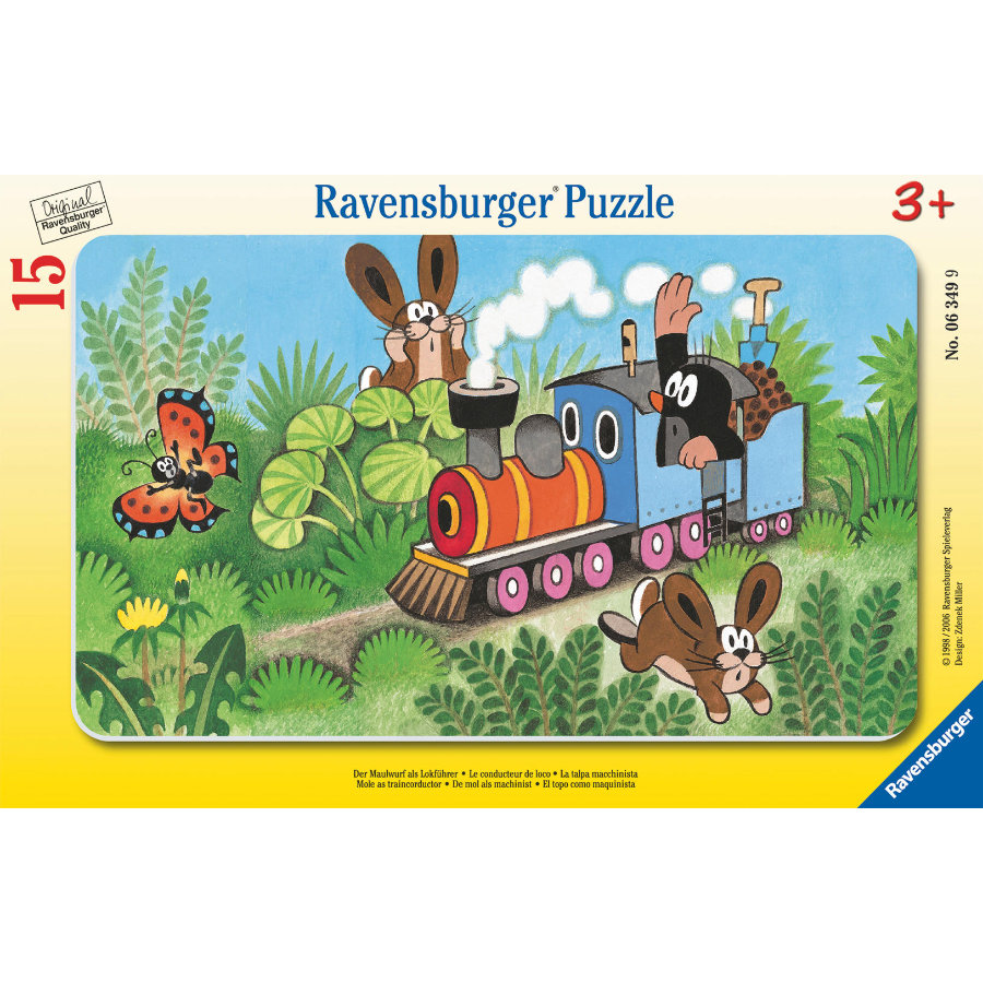 RAVENSBURGER Puzzle w ramce - Krecik w pociągu, 15 elementów