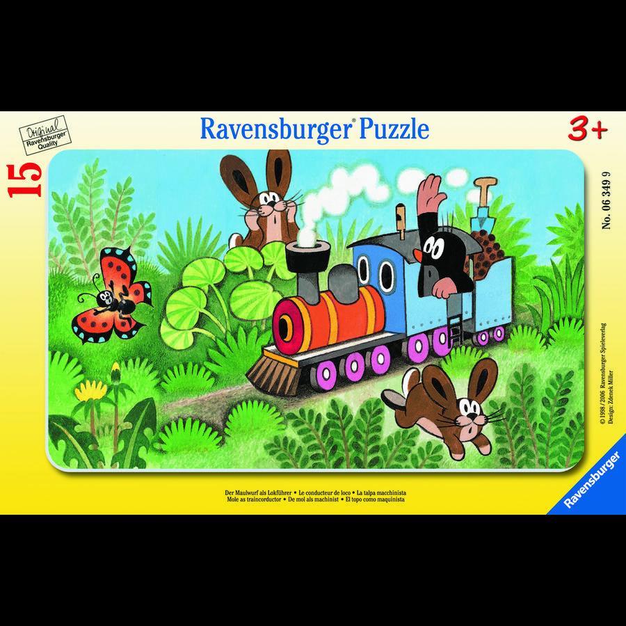 Ravensburger Rompecabezas de marco - El topo como conductor de locomotora, 15 piezas