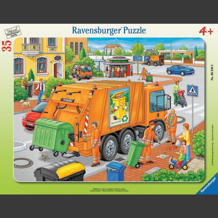 RAVENSBURGER Rammepuslespil - Skraldebil, 35 dele
