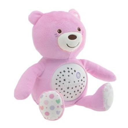 CHICCO Maskotka z projektorem Baby Miś różowy