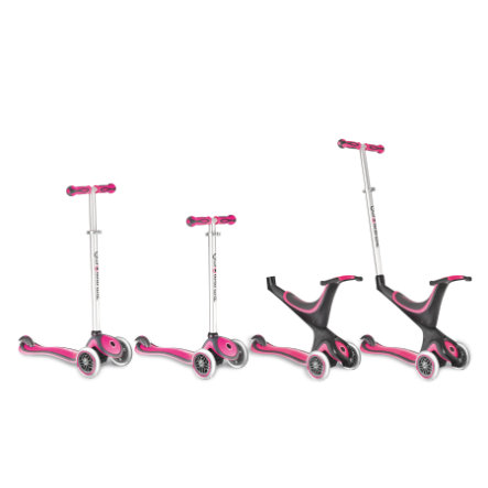 AUTHENTIC SPORTS Scooter GLOBBER MY FREE KIDS 5IN1, 3-Wheels, bi-inject - rosa/svart