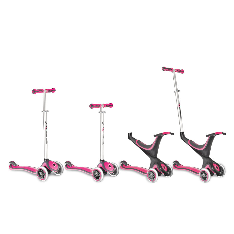 AUTHENTIC SPORTS Scooter GLOBBER MY FREE KIDS 5IN1, 3-Wheels, bi-inject - pink-zwart