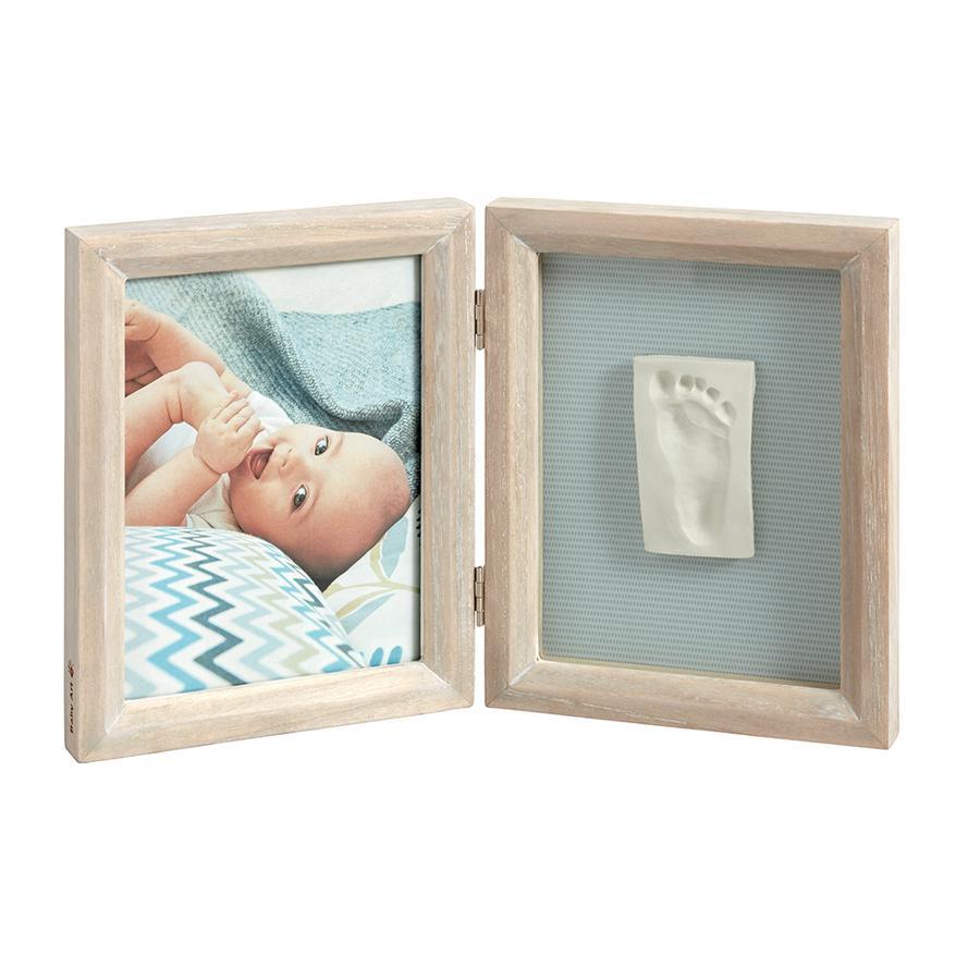 BABY ART Cadre d'images avec empreinte My Baby Touch, 2 volets, bois cérusé
