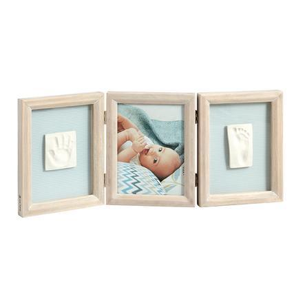 BABY ART Cadre d'images avec empreinte My Baby Touch, 3 volets, bois cérusé