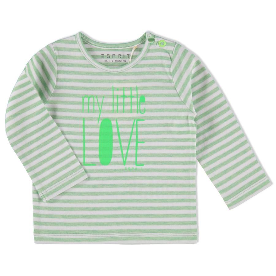 ESPRIT Bluzka z długim rękawem green/white