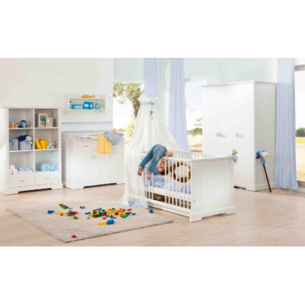 Geuther Ensemble lit bébé commode à langer armoire 3 portes Cottage blanc
