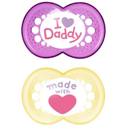 MAM Silicone Fopspeen Original I love Daddy 6-16 maanden voor meisjes pink/geel