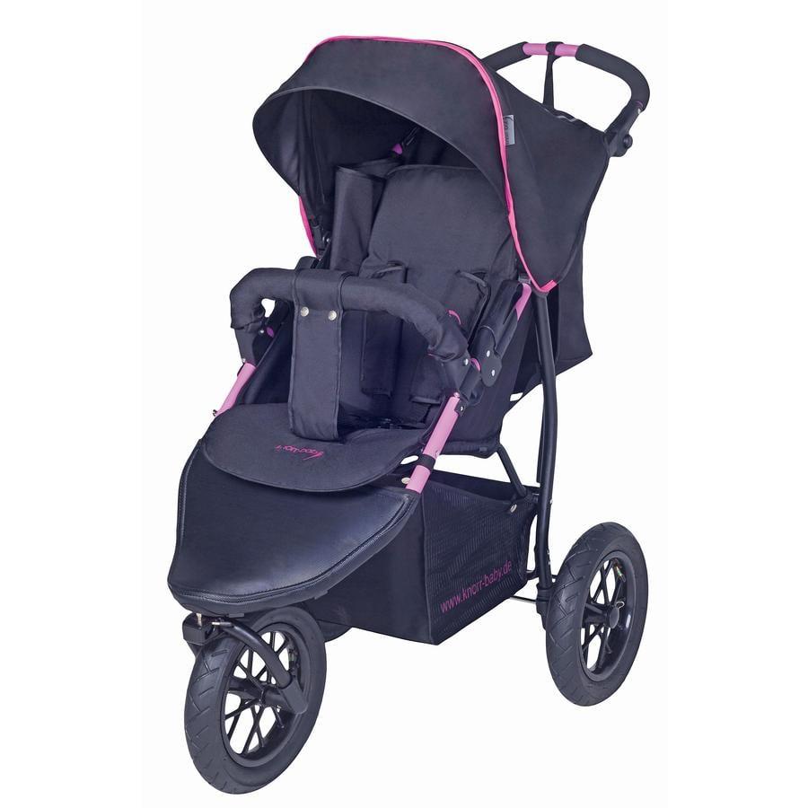 Knorr-Baby Joggingvagn Joggy S med sufflett, svart/ceriserosa