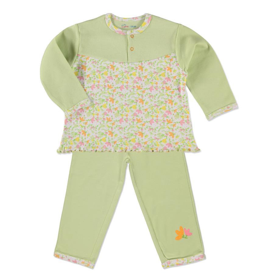 PINK OR BLUE Girls Schlafanzug 2-teilig grün geblümt