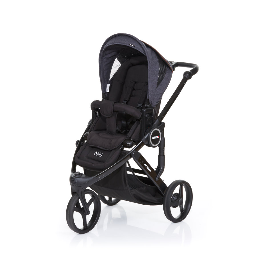 ABC DESIGN Kinderwagen Cobra plus black-street, Gestell black / Sitz black