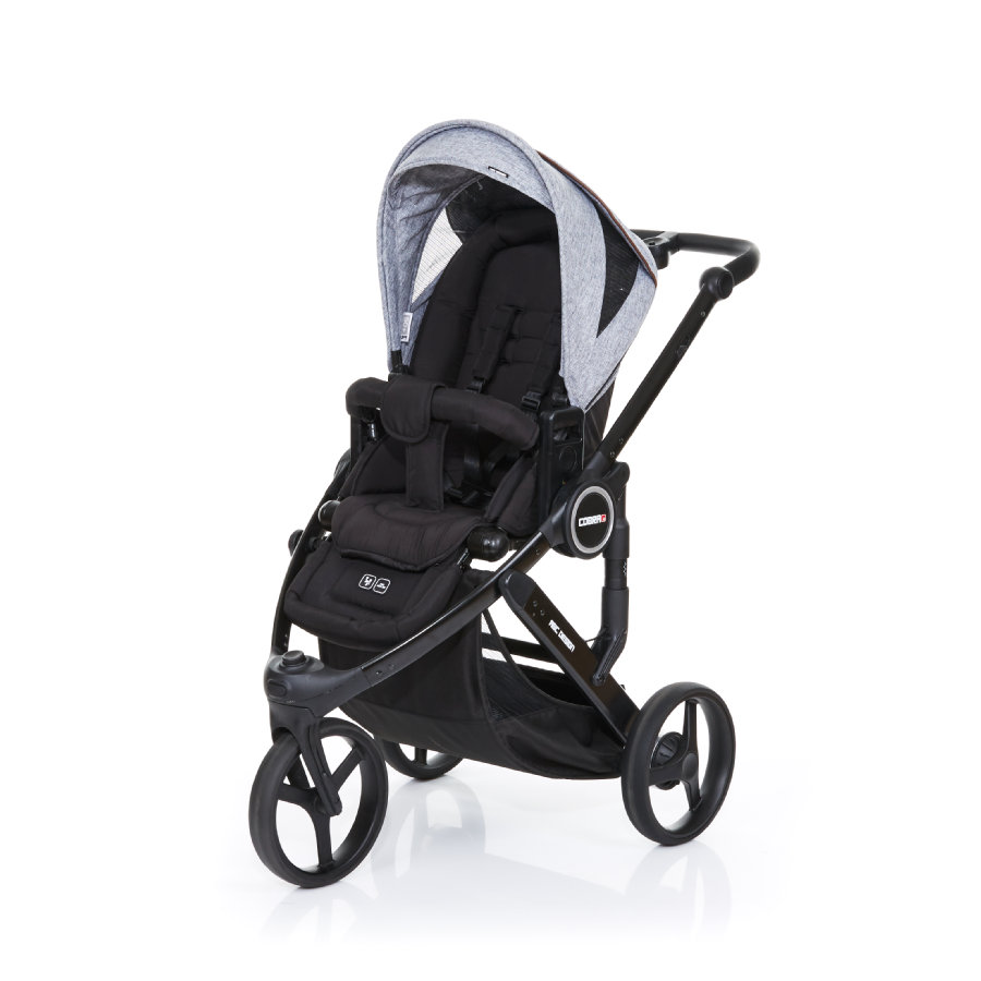 ABC DESIGN Poussette Cobra plus black-graphite grey, châssis noir/assise noire