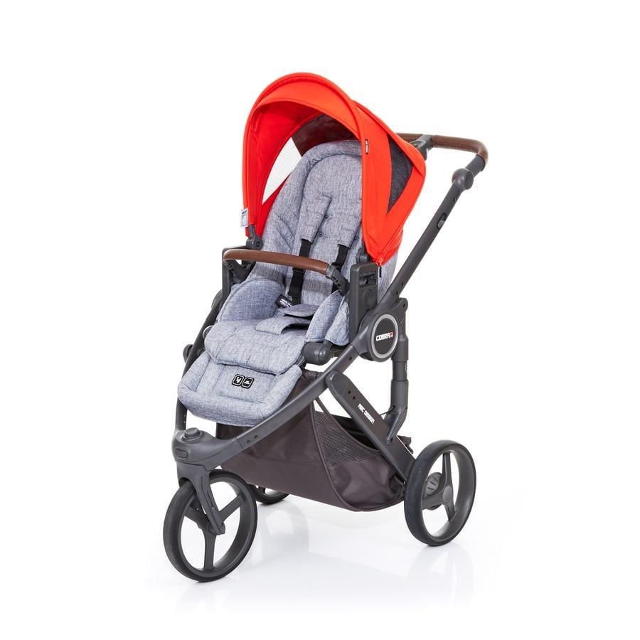 ABC DESIGN Poussette 3 roues Cobra plus graphite grey-flame, châssis cloud/assise graphite grey