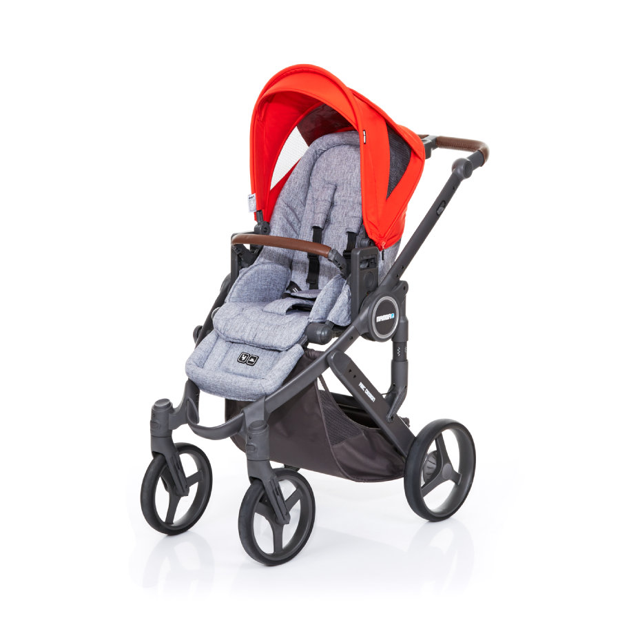 ABC DESIGN Kombikinderwagen Mamba plus graphite grey-flame, Gestell cloud / Sitz graphite grey