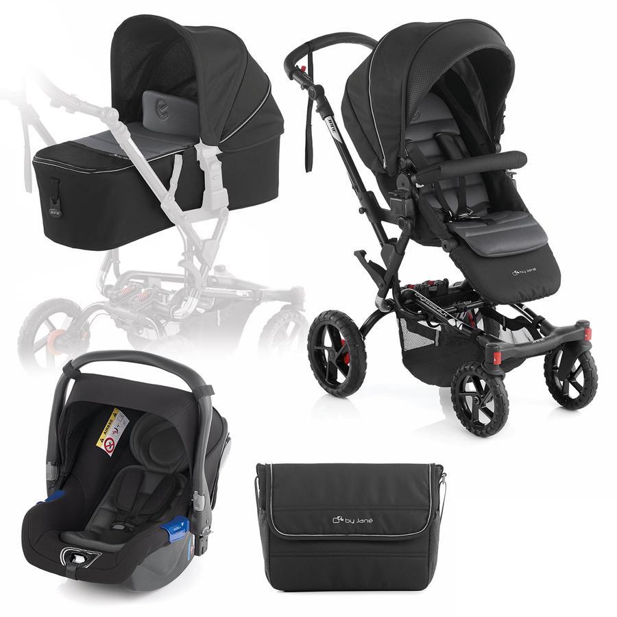 JANÉ Sportwagen Crosswalk inklusive Babyschale Koos und Tragewanne Micro Black