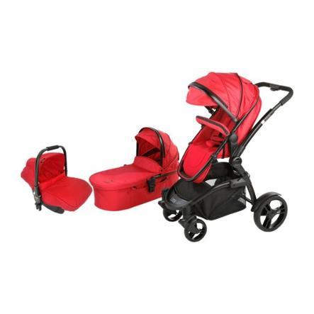 LIBELULLE Pack Trio Poussette LINOA 2.0 + nacelle + siège auto cosi Gr.0+, Red