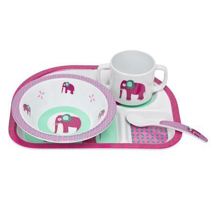 LÄSSIG Melamin Ess Set mit Silikonring 4-tlg. Wildlife Elephant pink