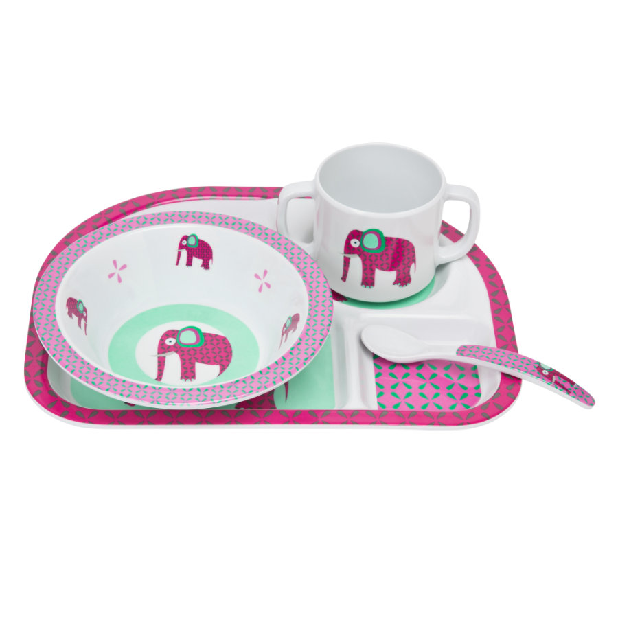 LŽSSIG Melaminová jídelní sada, slon, 4 díly
