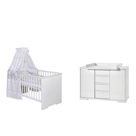 SCHARDT Lit enfant à barreaux et commode à langer MAXX WHITE