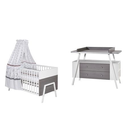 SCHARDT Set lettino & fasciatoio HOLLY GREY bianco / grigio