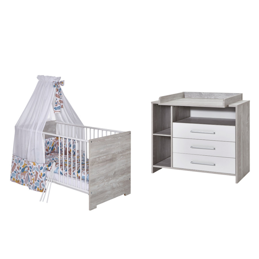 SCHARDT Set lettino e fasciatoio ECO CASCINA bianco/colore legno