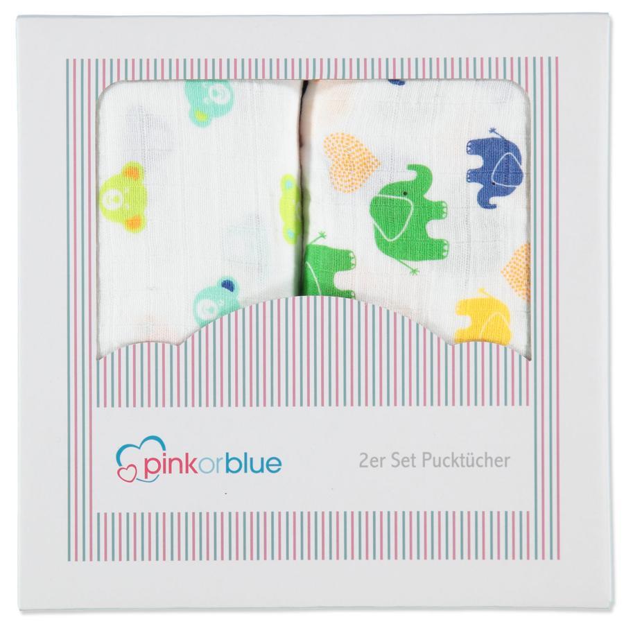 PINK OR BLUE EXKLUSIV 2er Pack Pucktücher BÄRENKOPF & BUNTE ELEFANTEN