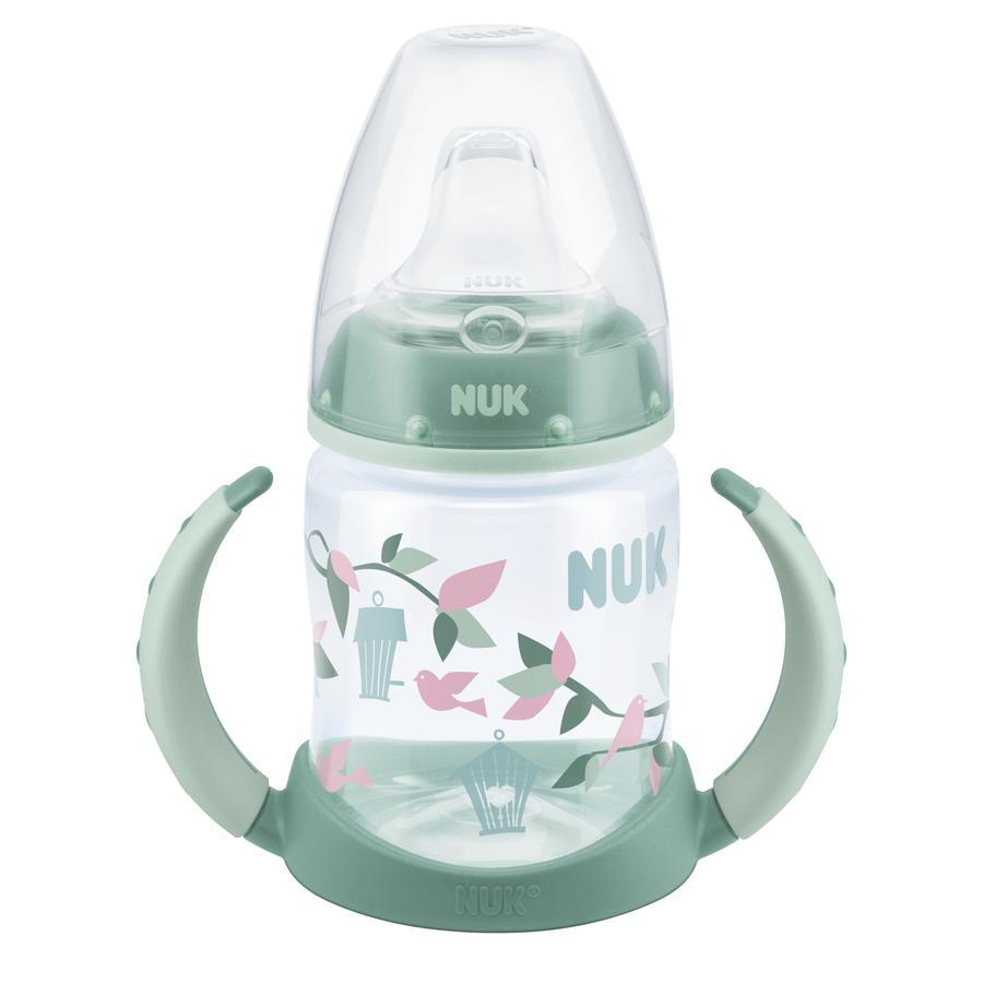 NUK Trinklernflasche mit weicher Trinktülle aus TPE und Griff 150 ml dunkelgrün