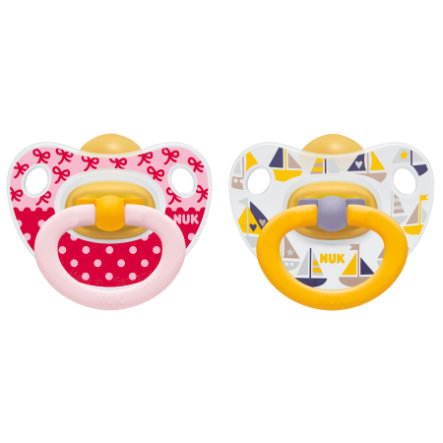 NUK Napp Happy Kids med Ring Latex, storlek 3 röd/gul