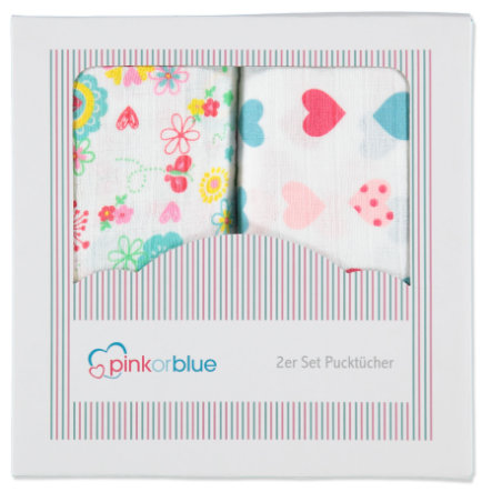 PINK OR BLUE EXKLUSIV 2er Pack Pucktücher Millefleur & bunte Herzen