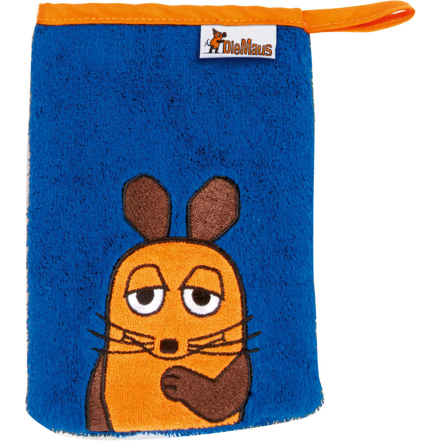 Playshoes Frottee-Waschhandschuh Die Maus marine 15 x 20 cm