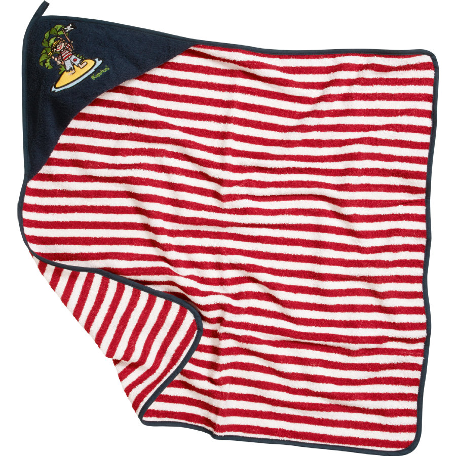 Playshoes Boys Frotte-Kaputzentuch Pirateninsel rot/weiß
