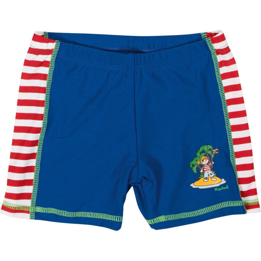Playshoes Short de bain enfant, protection UV, Île des pirates, rouge/blanc