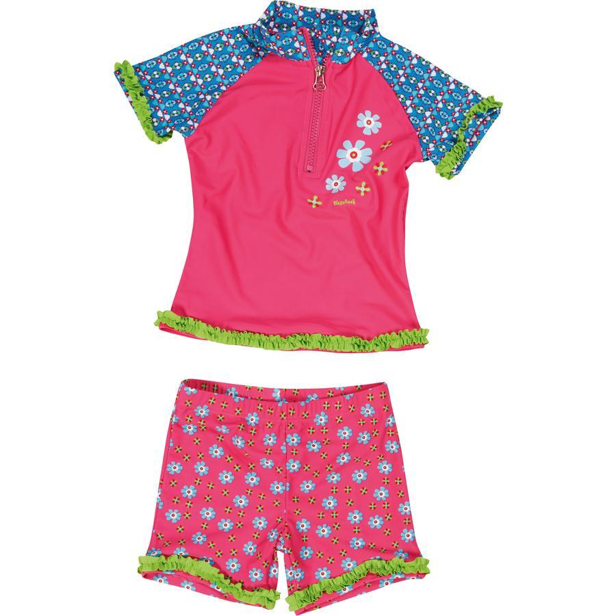 PLAYSHOES Girls UV plavky dvoudílné květinkové pink