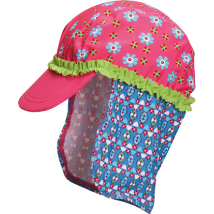 Playshoes Casquette enfant, protection UV, fille, Fleur, rose