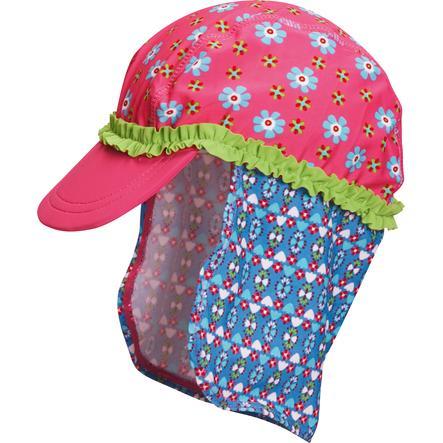 Playshoes Schirmmütze mit Nackenschutz Blume pink