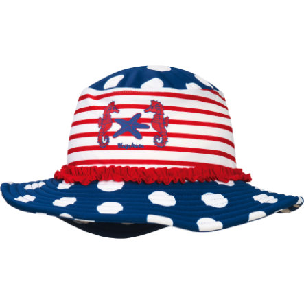 76c704b549b5 Playshoes Chapeau enfant, protection UV, fille, Hippocampe, bleu blanc
