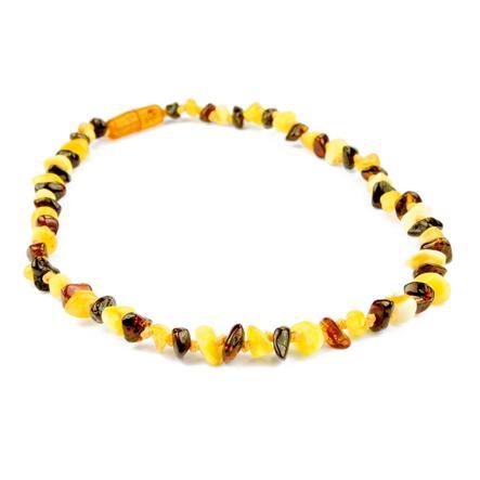 GRÜNSPECHT Jantarový náhrdelník s bezpečnostním uzávěrem multi