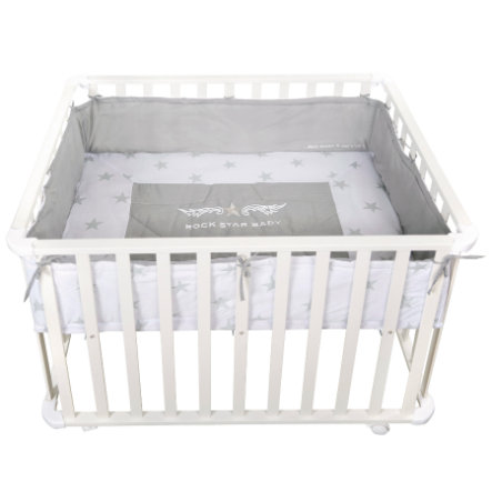 roba playpen 75 x 100 cm white Rock Star Baby