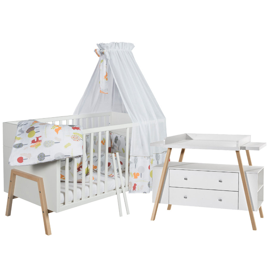 SCHARDT Ensemble lit et commode HOLLY NATURE, blanc/couleurs bois
