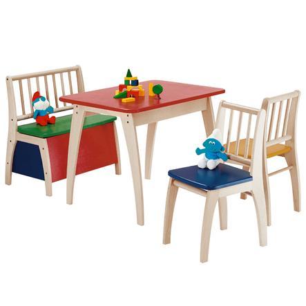 Geuther Mesa, sillas y banco arcón infantiles Bambino multicolor