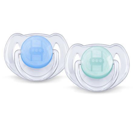 Modré silikonové dudlíky AVENT/PHILIPS, 6 - 18 m, neobsahující BPA, SCF 170/22