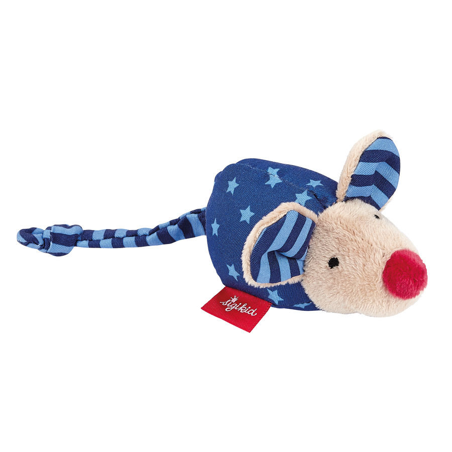 Sigikid® Greifling Maus mit Rassel dunkelblau Baby.basics -