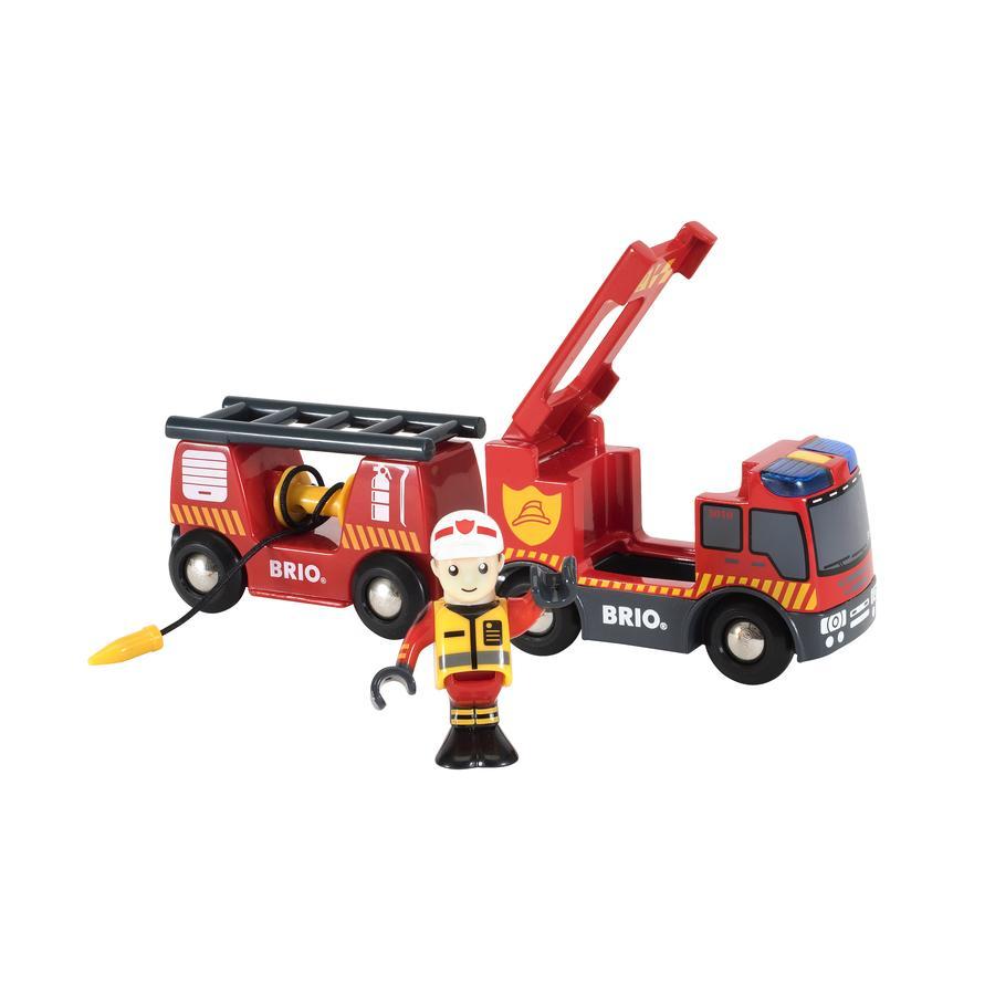 BRIO Camion de pompier son et lumière 33811