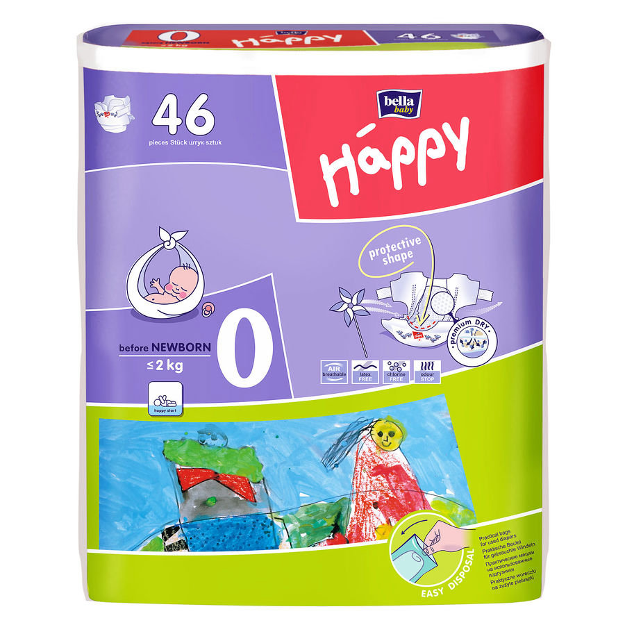 Bella Happy Before Newborn Size 0 Nappies (<2 kg) 46 Pcs.