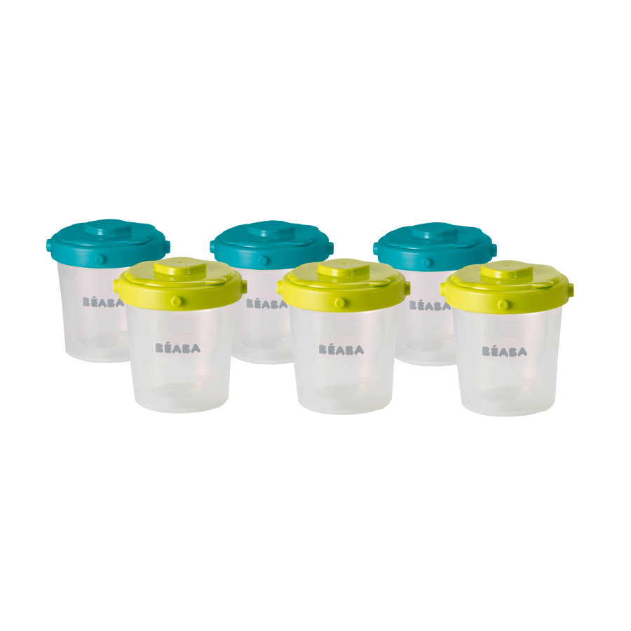 BEABA Portions Set mit 6 Portionsbechern a 200 ml blau/neon grün