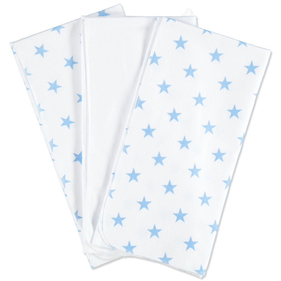 pink or blue Boys Lot de 3 serviettes molleton, étoiles, bleu et blanc