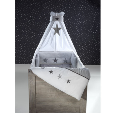 SCHARDT Bäddset, 4 delar - grå stjärnor