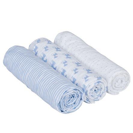 LÄSSIG Swaddle & Burp Filt L - light blue